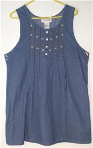 DRESS BARN BLUE DENIM SUNDRESS WOMEN'S PLUS SIZE 1X SLEEVELESS TOTALLY ADORABLE!