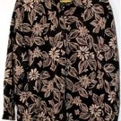 HARVE BENARD WOMENS PLUS SIZE 2X TOP/SHIRT LONG SLEEVE BLACK & TAN FLORAL DESIGN
