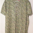 WOMAN WITHIN PRETTY GREEN FLORAL TUNIC WOMEN'S PLUS SIZE 2X 100% COTTON