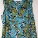JACLYN SMITH WOMEN'S PLUS SIZE 3X CASCADE OF BLUES & GREENS SLEEVELESS TOP