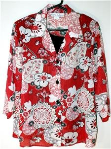 GLORIA LANCE WOMEN'S PLUS SZ 1X  2-IN-1 BLOUSE RED-BLACK-WHITE FLORAL NWOT