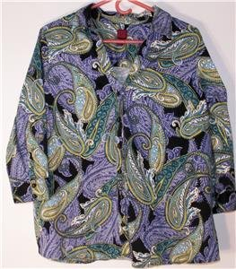 212 COLLECTION WOMEN'S PLUS SIZE 1X BLOUSE PAISLEY MULTI-COLOR 3/4 SLEEVES SOFT!