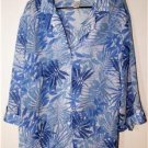 CATHY DANIELS OCEANS OF BLUE SHEER BLOUSE WOMEN'S PLUS SIZE 1X - A TRUE BEAUTY!