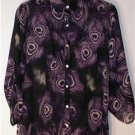 WOMEN'S PLUS SIZE 1X SHEER PURPLE PEACOCK WHIMSICAL DESIGN SERE NADE