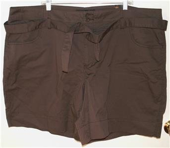 VENEZIA/LANE BRYANT DARK BROWN SHORTS SIZE 26 STRETCH 4-POCKET DESIGN NWT
