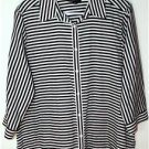 FOXCROFT WOMEN'S PLUS SIZE 14W BLACK & WHITE STRIPE BLOUSE MSRP $96 NO IRON