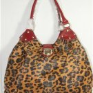 X-LARGE LEOPARD HANDBAG W/RED LEATHER-LIKE TRIM SUPER ROOMY! SUPER HOT! NWT!