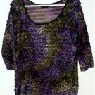MISSES SIZE LARGE TOP PURPLE/BLACK LAYERED RUFFLES, WHIMSICAL DESIGN STUNNING
