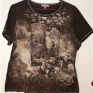 ESSENTIALS BROWN & GRAPHIC PARIS DESIGN SIZE 0X (14W-16W) COTTON TOP