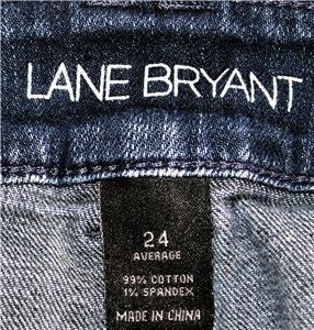 LANE BRYANT BLUE JEANS DARK WASH WOMEN SIZE 24 AVERAGE 99% COTTON - 1% SPANDEX