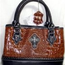 LARGE COGNAC/BROWN LEATHER CROC-EMBOSSED TOTE-STYLE HANDBAG & SHOULDER STRAP NWT