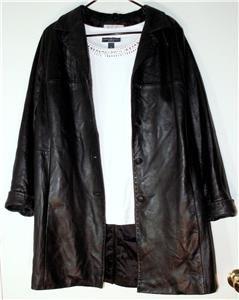 PRESTON & YORK WOMEN'S PLUS SIZE 1X BLACK LAMB SKIN COAT BUTTON DOWN MSRP $330