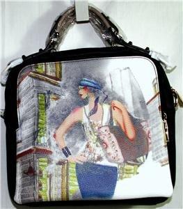 BLACK/MULTI FINE ART/FASHION HANDBAG/SHOULDER BAG/CROSS-BODY BAG MSR $80 NWT