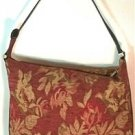 MAXX NY LARGE SHOULDER BAG BEAUTIFUL FALL COLORS JACQUARD-BROWN LEATHER TRIM