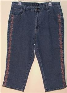 """JEAN BAY"" BLUE DENIM CAPRI PANTS SIZE 16W FLORAL EMBROIDERY & RHINESTONES"
