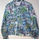 MISSES SIZE X-LG COTTON LIGHT SUMMER JACKET MULTI-COLOR by FRENCH POSTCARDS