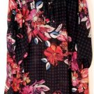 LANE BRYANT WOMENS PLUS SIZE 22/24 BLACK & MULTI COLOR BRIGHT FLORAL SHEER TUNIC