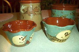 Eldreth fluted snowmen dip dish redware pottery