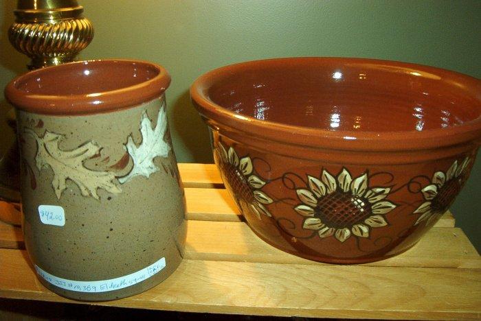 Eldreth Pottery Redware Leaf Crock