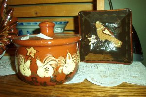 "Eldreth Pottery Redware 5"" square plate with bird design"