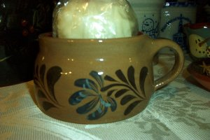 Eldreth Pottery redware soup mug