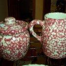 Henn Workshops cranberry sponged sugar and creamer set