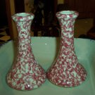 Henn Workshops cranberry sponged candle stick set