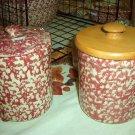 Henn Workshops cranberry sponged 1 quart crock