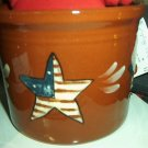 Eldreth Pottery Redware 1 qt crock with a star design