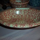 Henn Workshops cranberry sponged medium oval serving bowl