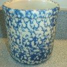 Henn Workshops blue sponged 1 quart crock