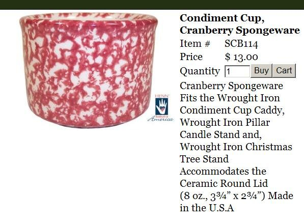 Henn Workshops cranberry sponged condiment cup with cranberry sponged lid