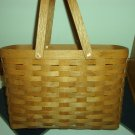 Henn Workshops carry all basket w/2  swing handles in fruitwood stain