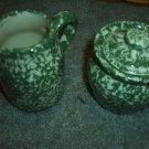 Henn Workshops green sponged sugar and creamer set