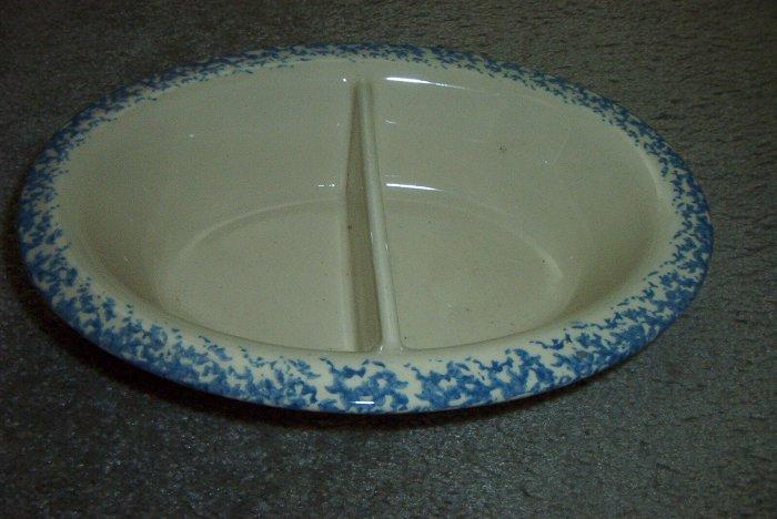 """Gerald E Henn Workshops blue sponged 12"""" oval divided bowl"""