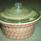 Henn Workshops cranberry sponged 2 quart casserole (crock pot)