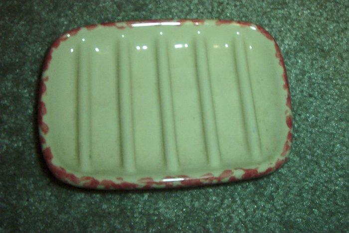 Henn Workshops rose/cranberry Sponged  soap dish