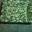 Henn Workshops green sponged salsa dish & fruitwood basket set