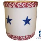 Henn Workshops old glory cranberry sponged with blue star 1 quart crock with cream in the center