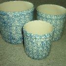 Henn Workshops blue sponged 3 quart crock