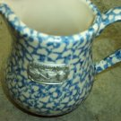 Henn Workshops blue sponged museum pitcher with pewter tag & bowl set
