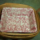 Henn Workshops cranberry or cream sponged salsa dish & fruitwood basket
