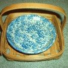 Henn Workshops mini  lil' pie plate blue sponged & fruitwood pie basket