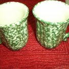Henn Workshops green sponged petal mugs set of 2