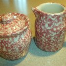 Henn Workshops rose sponged sugar and creamer set