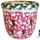 Henn Workshops watermelon with seeds cranberry/ green sponged votive cup