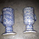 Henn Workshops blue Sponged  dessert Cafe mugs set of 2