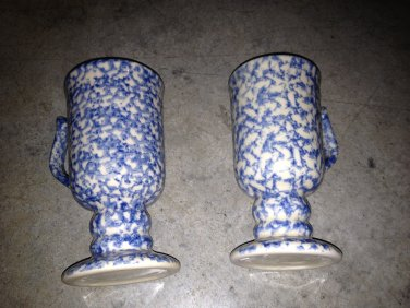 Henn Workshops blue Sponged  dessert Cafe mugs set of 2