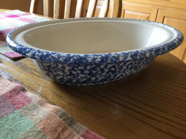 "Gerald E Henn Workshops Blue sponge 12"" large oval serving dish"