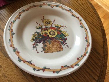 Henn Workshops cream luncheon plate botannical pattern Aunt Janes bittersweet